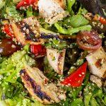sesame lime chicken quinoa salad in bowl p5