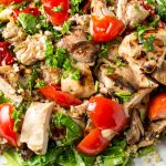 grilled sesame lime chicken quinoa salad on serving plate p2