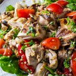 grilled sesame lime chicken quinoa salad on serving plate p