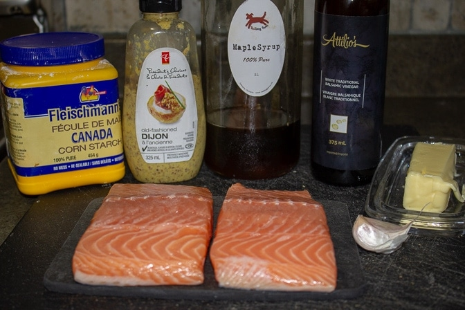 salmon fillets, dijon, cornstarch, maple syrup, balsamic vinegar