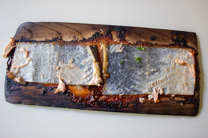 salmon skin remains on plank when salmon lifted off