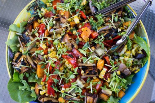 Party Salad with Grilled Vegetables and Quinoa in serving bowl