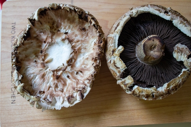 Portobello Mushrooms - one with gills, one with gills scraped off