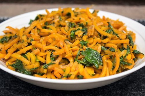 Spiralized Butternut Squash with Balsamic Butter Sauce. Ready in 10 minutes with a delicious sauce of butter, balsamic vinegar, soy and garlic.