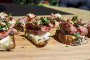 Sous Vide Beef Crostini with Horseradish Aioli. Beef is cooked to a perfect medium rare every time with sous vide cooking. Guaranteed.