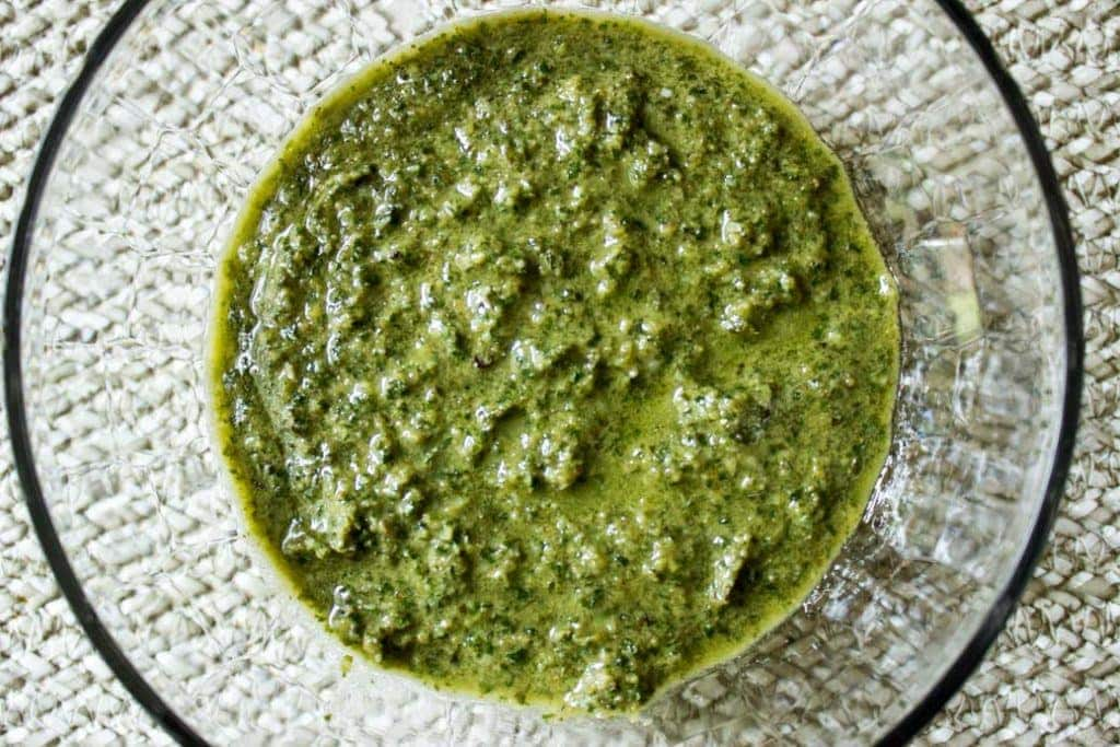 Basil Pesto. Classic recipe with basil, walnuts, Parmesan, garlic and olive oil.