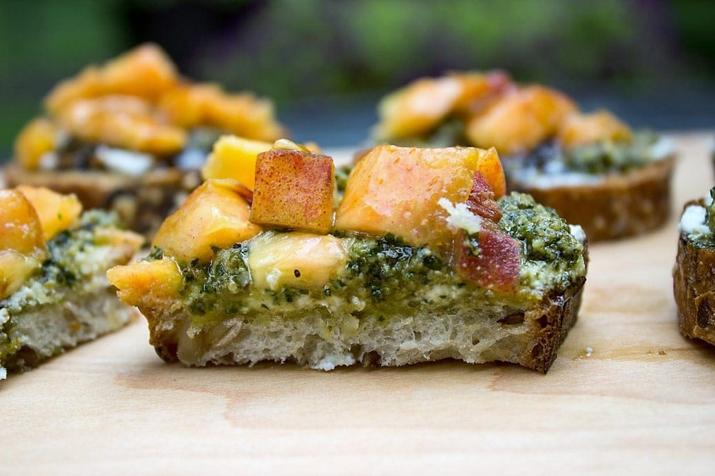 Peach, Pesto, Ricotta Appetizers. Just a few minutes to put together if you have pesto on hand. Flavour combination is amazing!