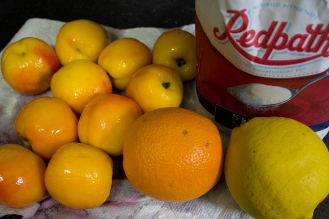 peaches, orange, lemon, sugar