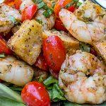 Grilled Pesto Shrimp Panzanella on a plate p