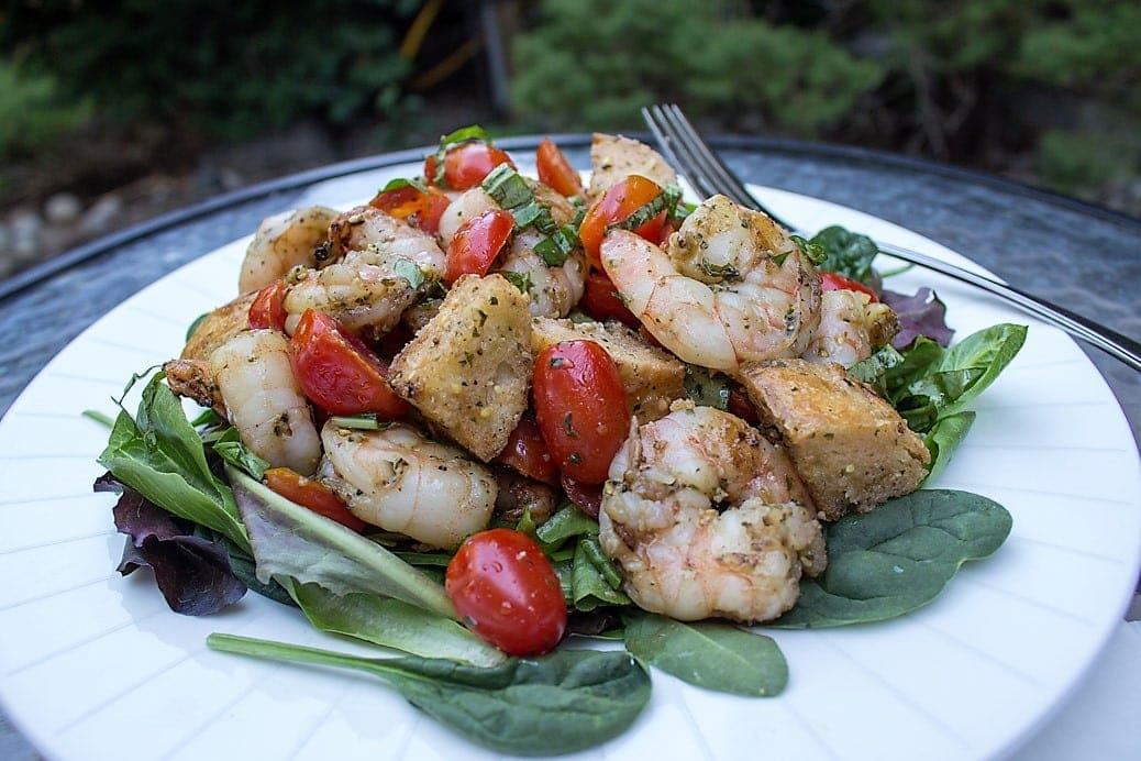 Grilled Pesto Shrimp Panzanella
