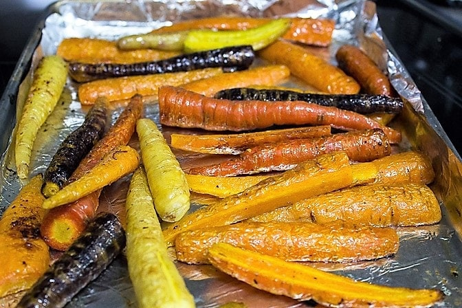 Roasted carrots on pan