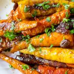 Roasted Glazed Carrot Tzimmes on serving plate p1