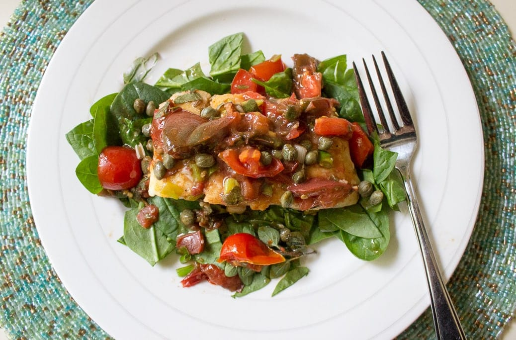 Roasted Halibut with Tomatoes and Capers