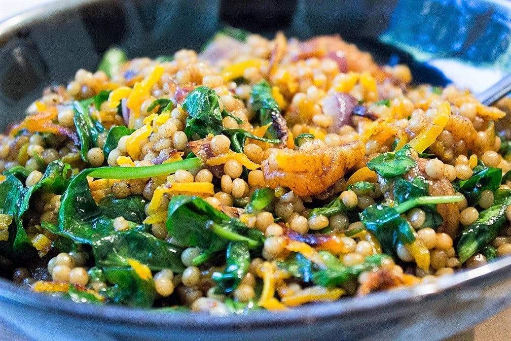 Spiced Israeli Couscous with Vegetables and Apricots