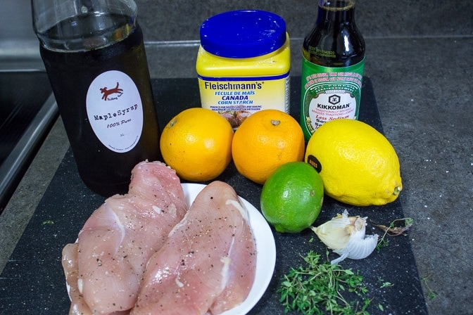 chicken breasts, maple syrup, orange, lemon, lime, cornstarch, soy, garlic, thyme