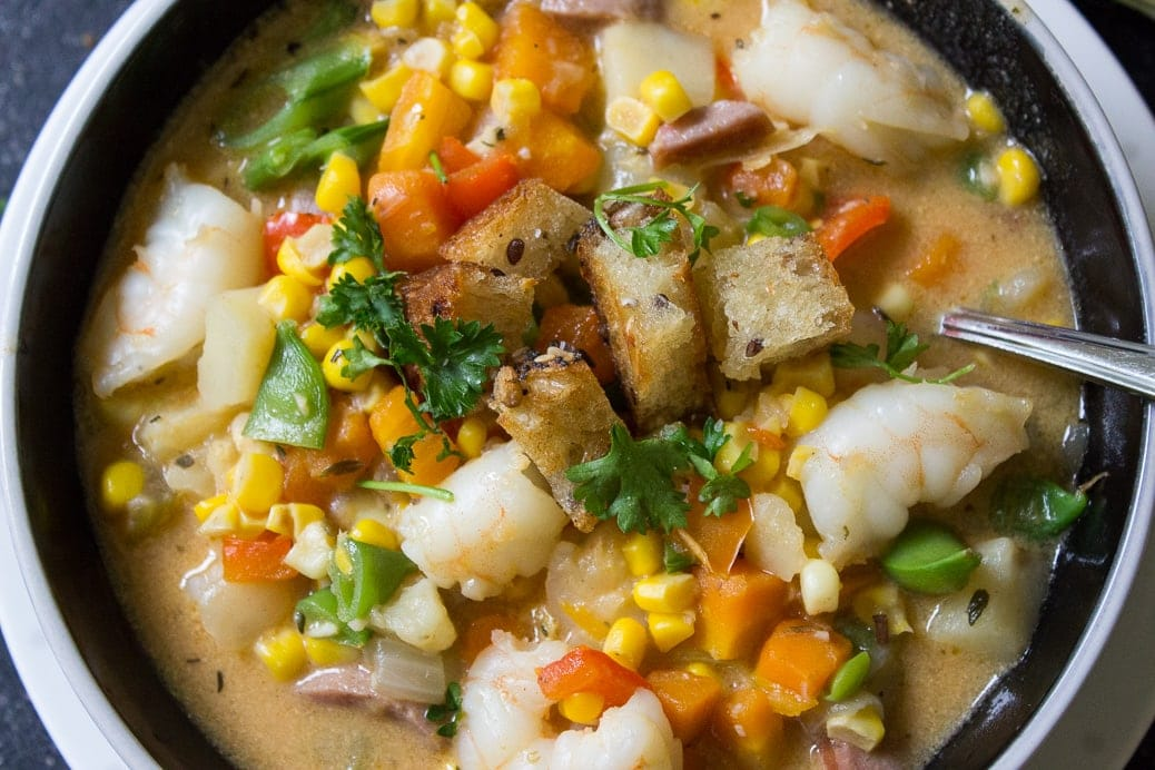 Corn Chowder and Shrimp
