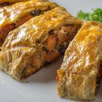 Vegetable Strudel sliced on serving plate