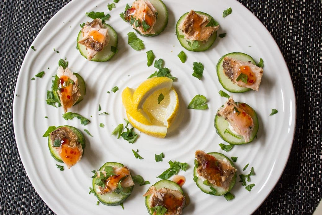 salmon on cucumber appetizer