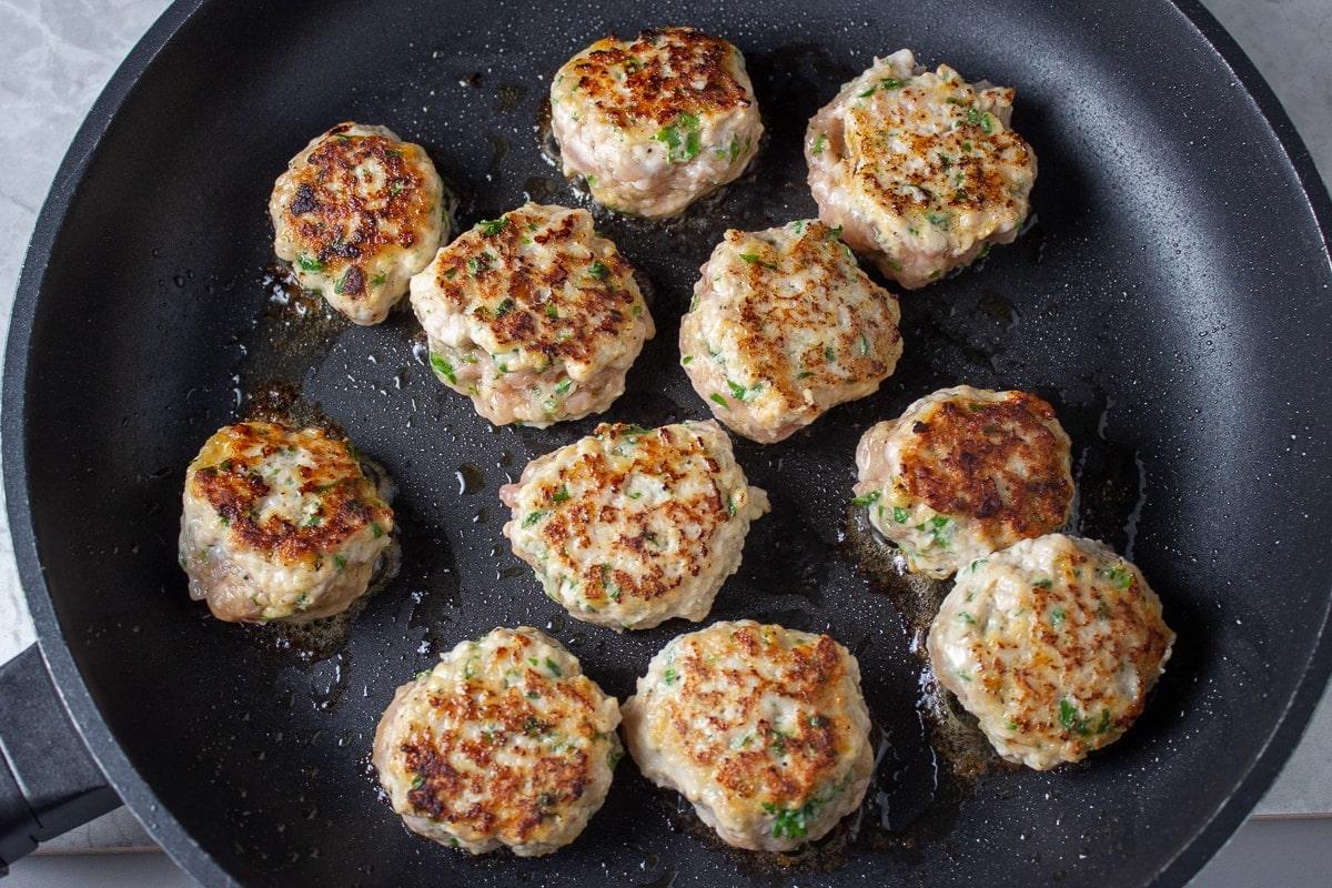 chicken meatballs pan fried in pan