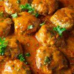chicken meatballs in paprikash sauce in pan p