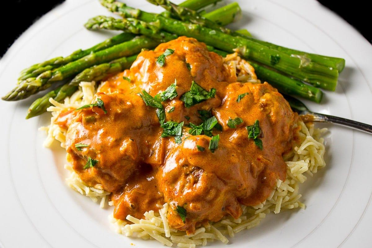 Chicken Paprikash Meatballs. juicy, tender meatballs in a creamy hungarian paprika sauce