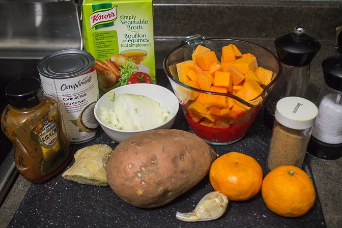 Squash, Sweet Potato & Mandarin Soup ingredients
