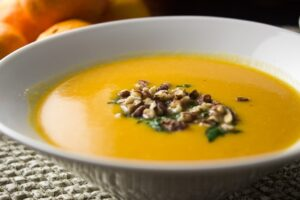 Squash, Sweet Potato & Mandarin Soup. Silky, creamy blend of orange citrus, veggies and coconut milk.
