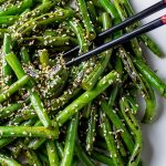 Stir Fry Green Beans on plate garnished with sesame seeds
