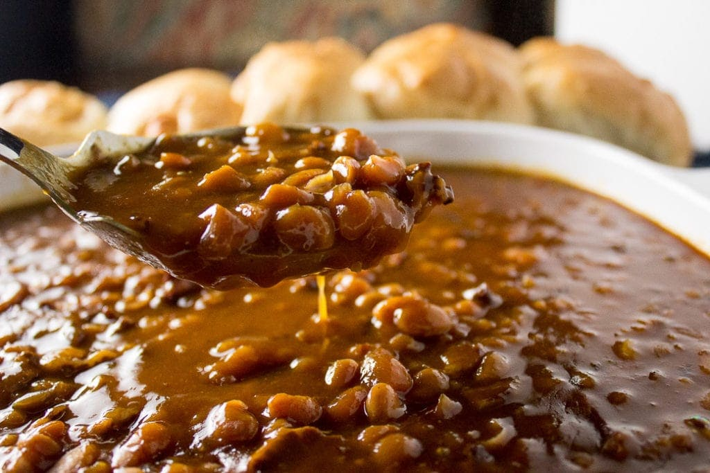 Homemade Baked Beans (Instant Pot). Rich and deep flavoured beans with a thick sauce in a quarter of the usual time it takes to make baked beans