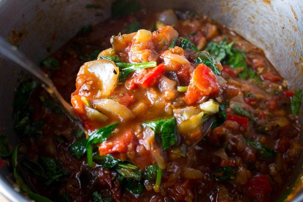 Ratatouille Soup is a low cal but satisfying soup loaded with healthy vegetables.