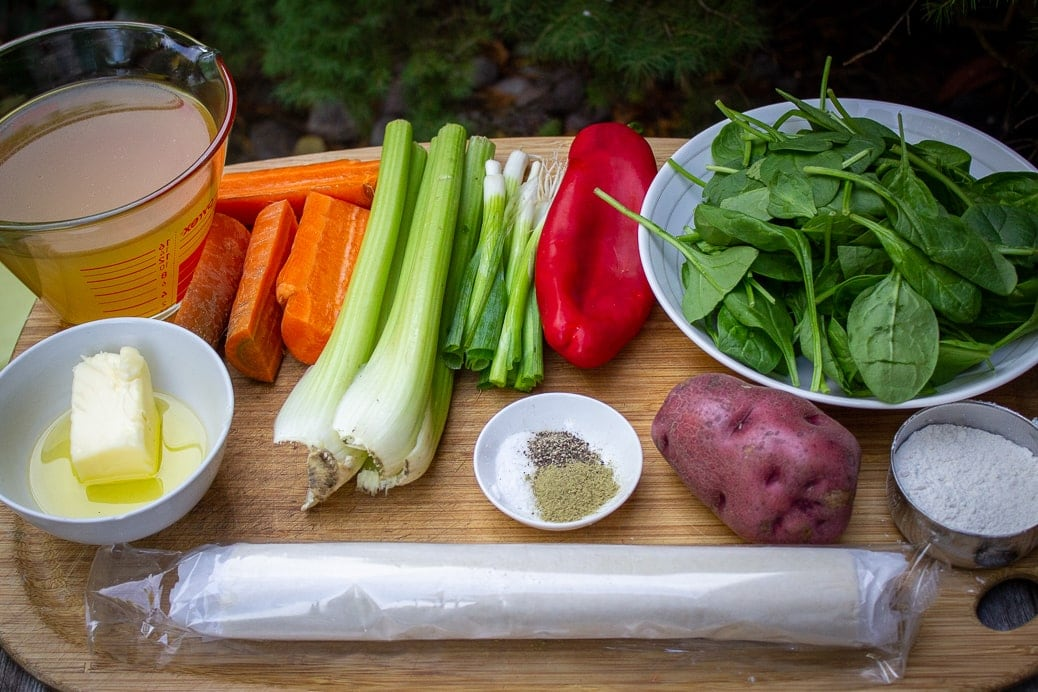 puff pastry sheet, broth, carrots, celery, onion, pepper, spinach, flour, seasonings