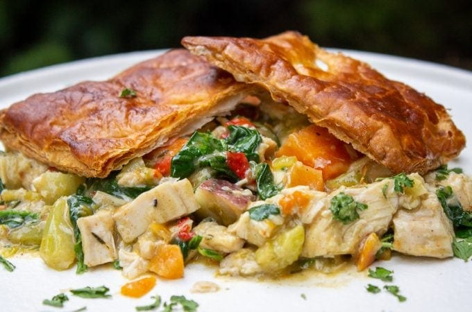 Skillet Chicken Pot Pie plate topped with puff pastry crust ff