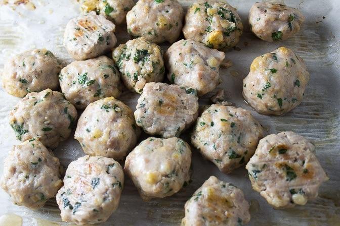 chicken meatballs baked on pan