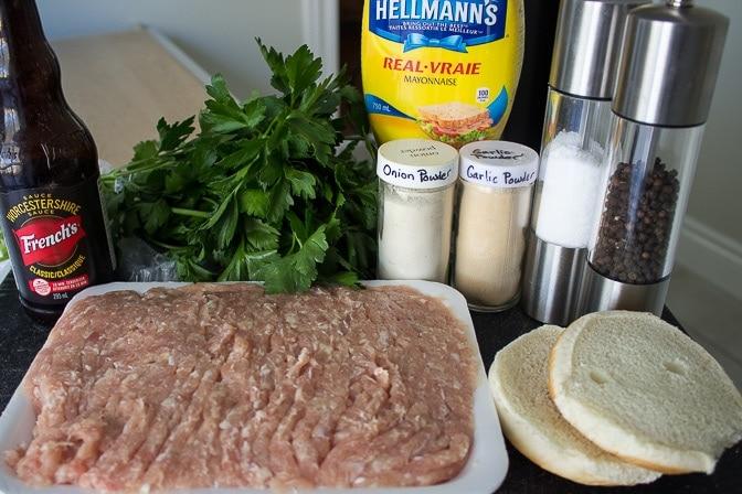 minced chicken, seasonings, bun, parsely, mayonnaise, ketchup