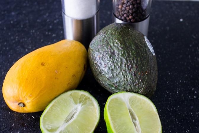 salsa ingredients mango, avocado, lime, salt, pepper