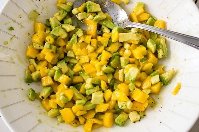 mango avocado salsa in a bowl