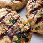 grilled chicken burgers on pan right off the grill p1