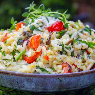 instant pot Risotto with Grilled Vegetables in a bowl f