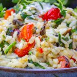 instant pot risotto with grilled vegetables in bowl p6