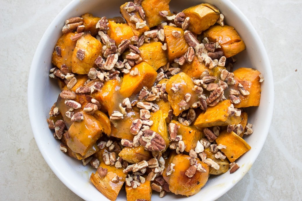 Maple Lime Roasted Sweet Potatoes with Pecans