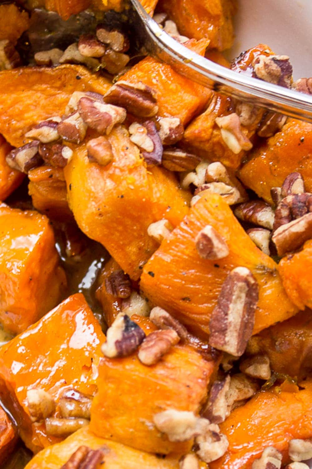 bowl of maple sweet potatoes with pecans p
