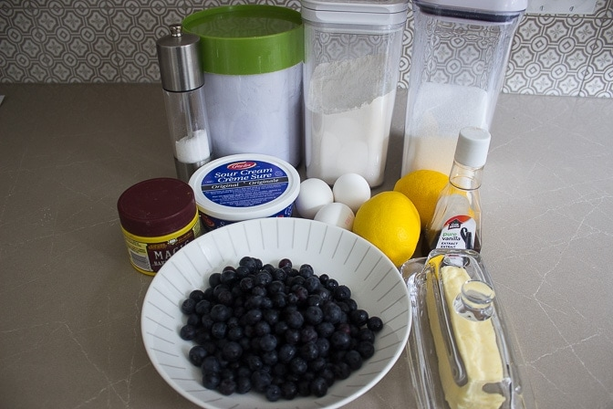Blueberries, lemon, butter, sugar, flour, baking powder, sour cream, eggs