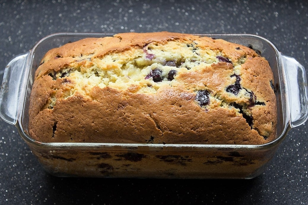 Lemon-Blueberry Loaf baked