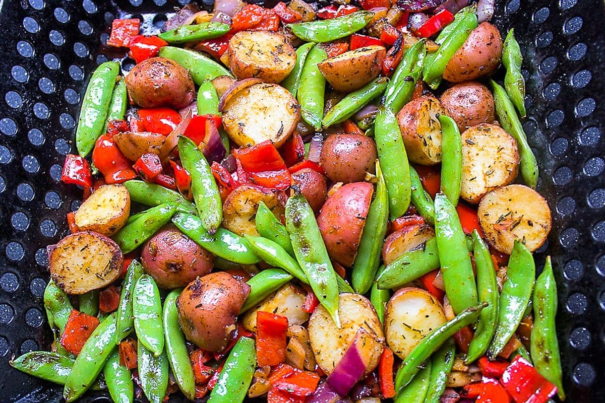 grilled veggies and potatoes in grill basket 2