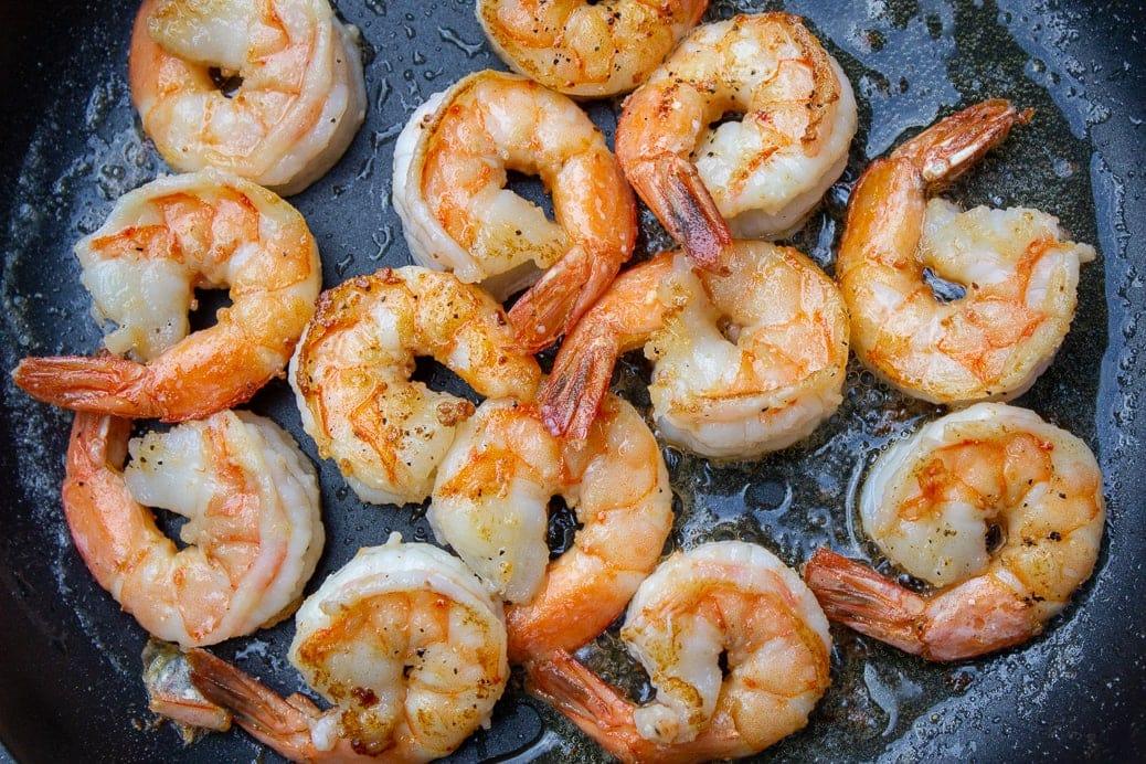 shrimp sauteed in pan