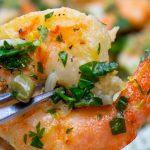single shrimp picatta on fork close up p