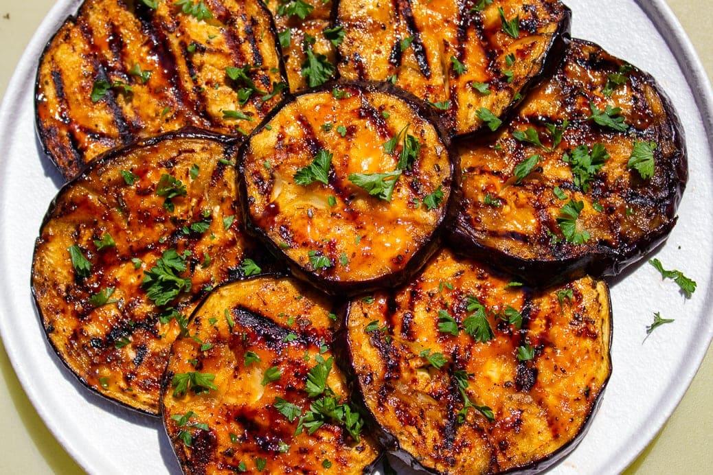 sliced grilled eggplant on plate 1