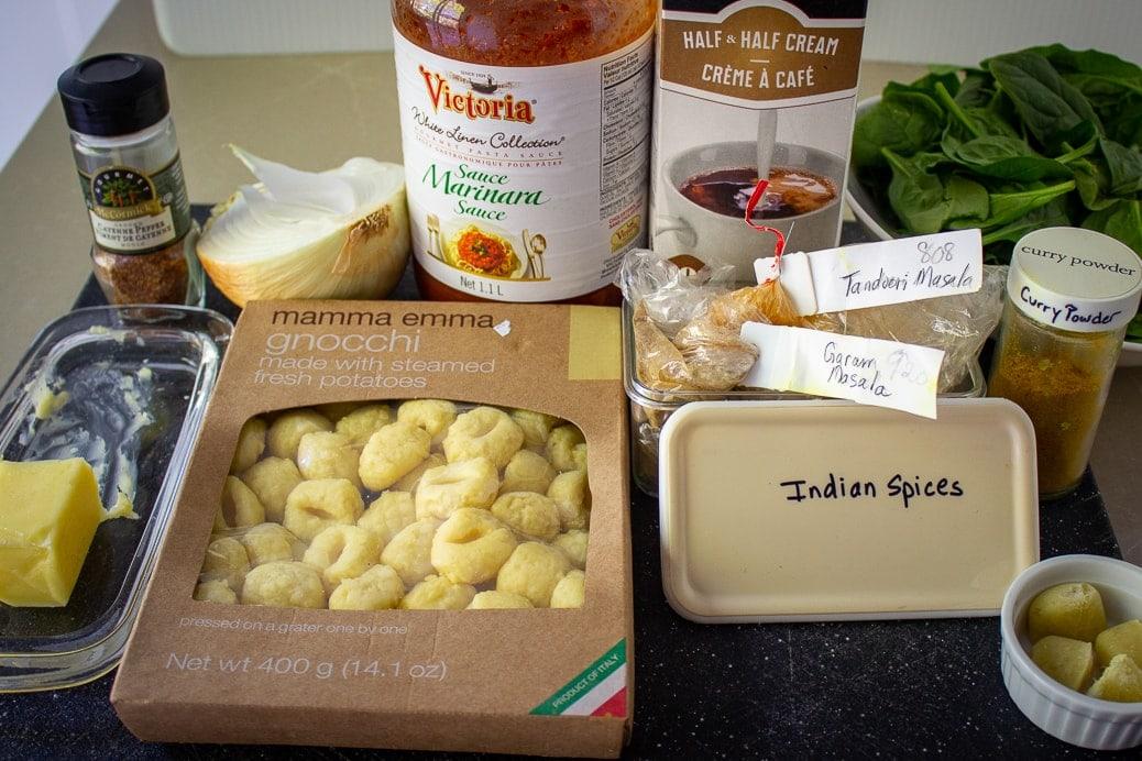 fresh gnocchi, butter, tomato sauce, indian spices, onion, spinach, cream, garlic
