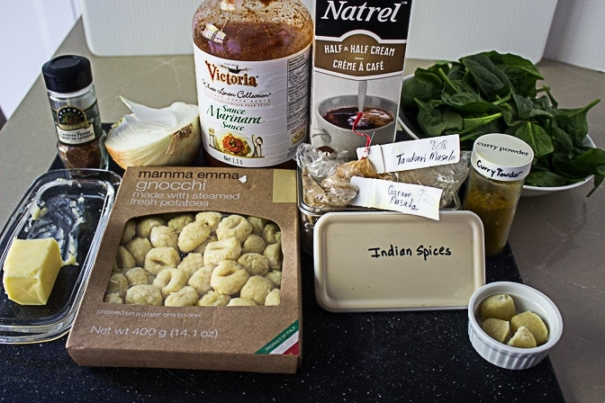 Indian Butter Gnocchi with Spinach. Creamy bold sauce infused with wonderful Indian spices.