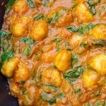Indian style Gnocchi with spinach in pan p